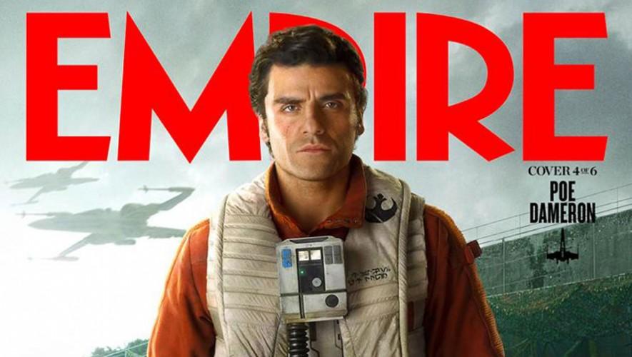 El actor guatemalteco Oscar Isaac como Poe Dameron en la Guerra de las Galaxias: El Despertar de la Fuerza. (Foto: Facebook Empire Magazine)
