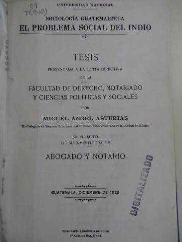 Portada de la tesis de Miguel Ángel Asturias. (Foto: Biblioteca Central USAC)