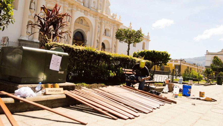 Con la finalidad de  mejorar la estructura y preservar el patrimonio, se lleva a cabo el proyecto Remozamiento de la Plaza Central de La Antigua Guatemala. (Foto: Municipalidad de Antigua Guatemala)