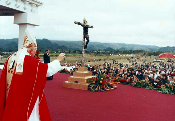 El 6 de febrero de 1996 Esquipulas recibió la visita de Juan Pablo II. (Foto: Semana Santa en Línea)