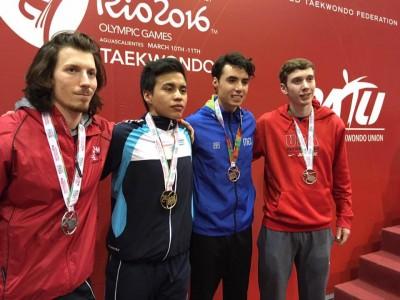 El taewondoísta se adjudicó la medalla de oro en la división-74 kilos en el Abierto de México. (Foto: Comité Olímpico Guatemalteco)