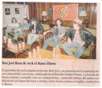 Artículo de un periódico nacional acerca de la visita de Bon Jovi. (Foto: Facebook Bon Jovi Guatemala)