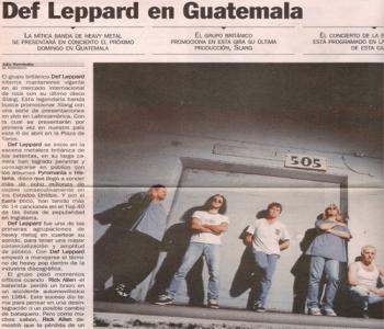 Recorte de periódico acerca del concierto de Def Leppard en Guatemala. (Foto: Facebook Guatemala Tu Rock Inmortal)