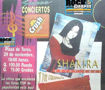 Afiche de 1996 que promocionaba el concierto de Shakira. (Foto: Rock Chapin)