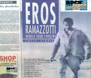Afiche de la presentación de Eros Ramazzotti en Guatemala. (Foto: Rock Chapin)