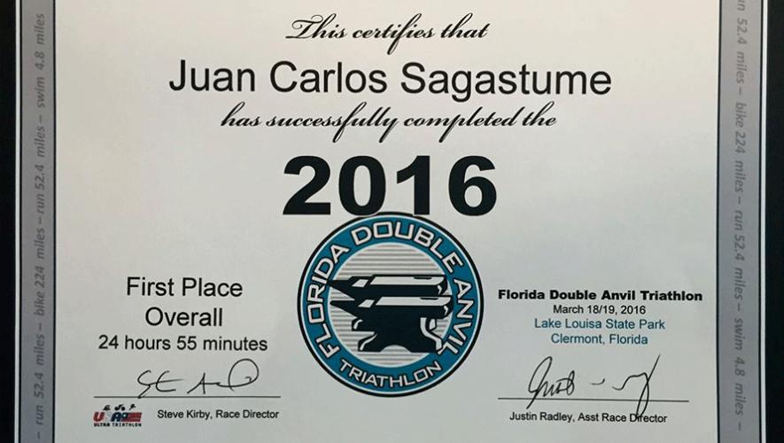 Certificado que recibió Juan Carlos Sagastume en el USA Ultra Triathlon. (Foto: Juan Carlos Sagastume)