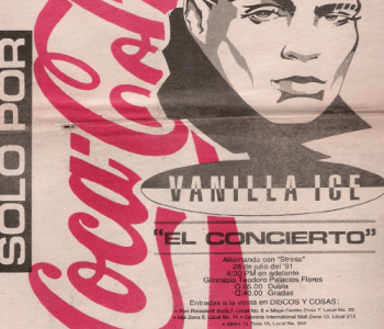 Anuncio que promocionaba a Vanilla Ice en Guatemala. (Foto: Rock n' Roll Times)
