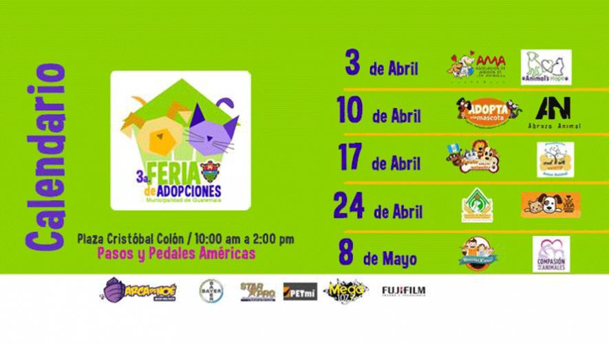 Calendario de la Feria Municipal de Adopciones 2016. (Foto: Pasos y Pedales)