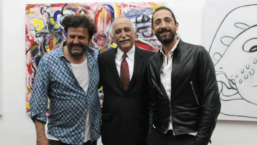 Domingo Zapata y el actor Adrien Brody junto a uno de los directivos de la Fundación G&T Continental. (Foto: Fundación G&t Continental)