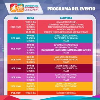 Este es el calendario de actividades del Panamericano.(Foto: Esgrima Panamá)