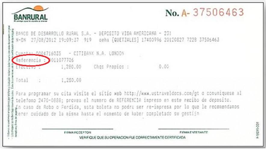 Número de referencia en boleta de pago Banrural. (Foto: Us Embassy Guatemala)