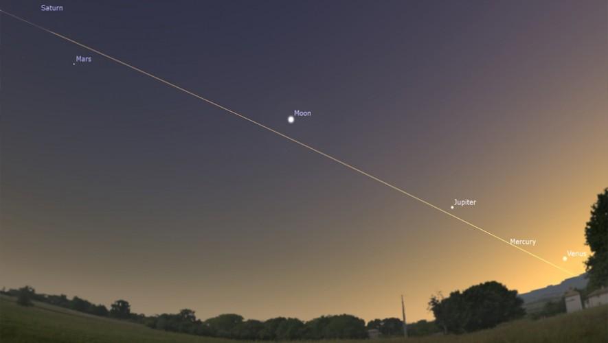 Durante agosto podrás observar a cinco planetas alineados, fenómeno que no ocurrirá de nuevo hasta el 2040. (Foto: Universe Today)
