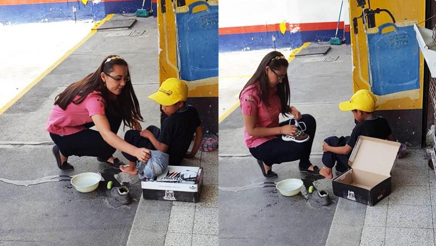 Joven guatemalteca lava los pies y regala un par de zapatos nuevos a un niño trabajador. (Foto: Jhon Monsalve)
