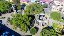 El fotógrafo guatemalteco Fer Mdz captó una impresionante imagen desde el aire del Parque Central de Xela. (Foto: Fer MDZ Fotográfo)