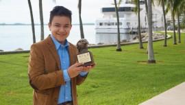 El pequeño guatemalteco de 14 años recibió el Premio Águila. (Foto: Diego Gómez)