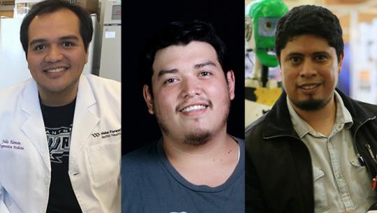 Julio Alemán, José Rivas y Julio Fajardo son los jóvenes guatemaltecos destacados por MIT. (Foto: MIT Technology Review)