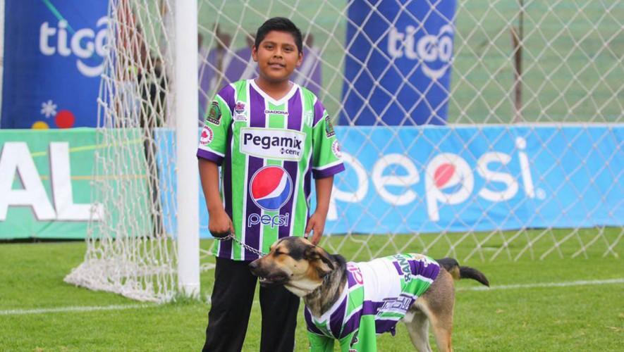 Lucho y su dueño José fueron los grandes animadores del partido entre Antigua y Petapa el pasado domingo. (Foto: Antigua GFC)