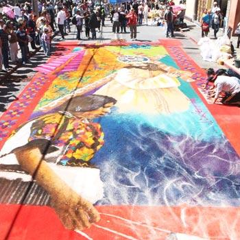 Alfombra de Jesús de la Reseña en 2016 del artista Jorge Corleto