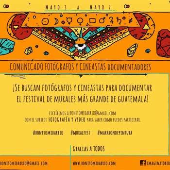 Buscan fotógrafos y cineastas guatemaltecos para el Festival Bonito mi Barrio 2017