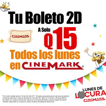 Entradas al cine en oferta de Cinemark Guatemala
