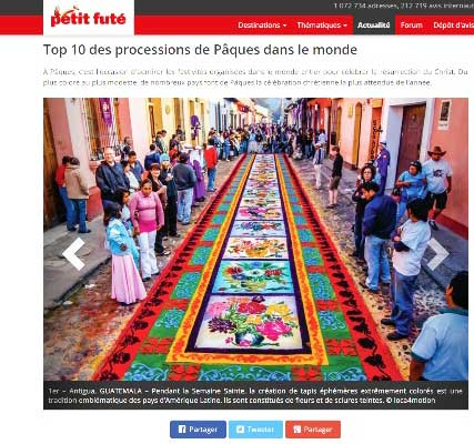 Guatemala entre las 10 mejores procesiones de Semana Santa en el mundo, según Petit Futé