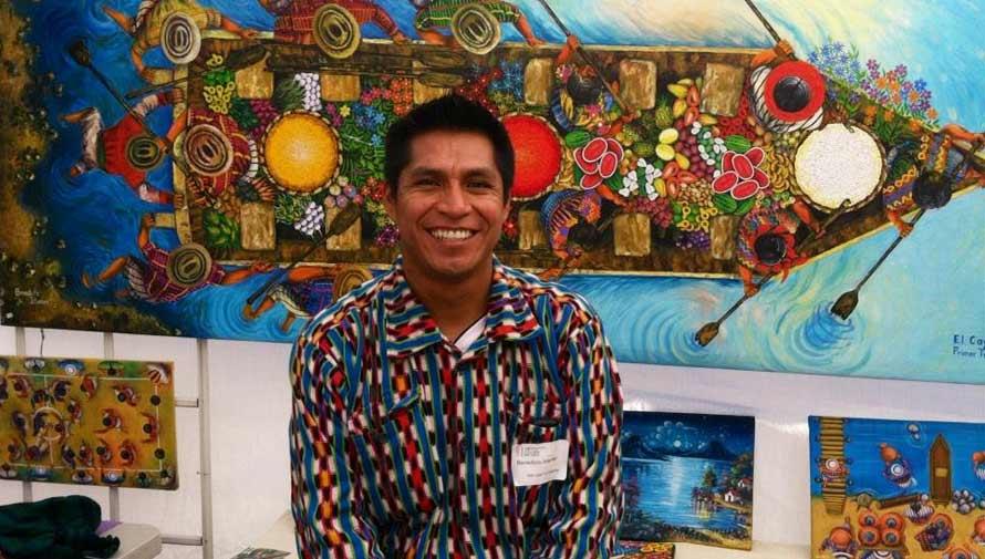El guatemalteco Benedicto Ixtamer realiza mural sobre el proceso artesanal del café 2017