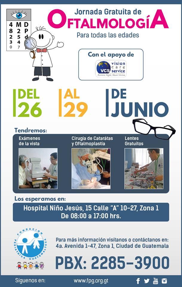 Jornada Oftalmológica gratuita en la Ciudad de Guatemala, junio 2017