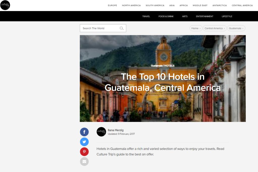 Sitio web de viajes publica los 10 mejores hoteles de Guatemala