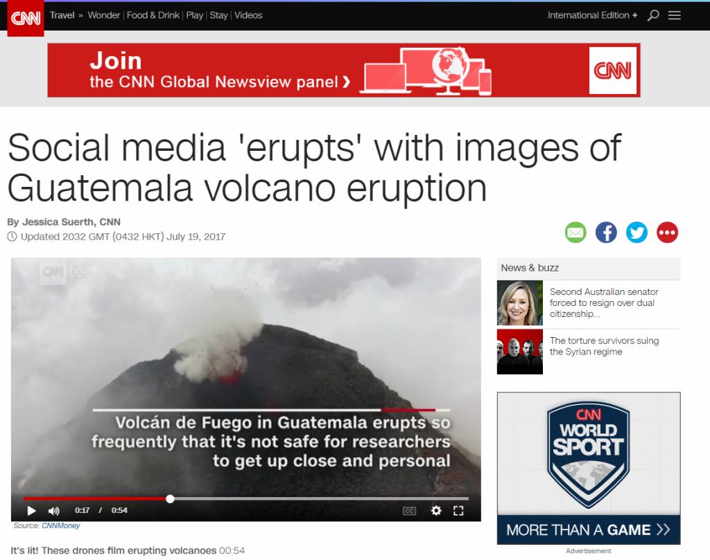 CNN comparte video de la erupción del Volcán de Fuego en Guatemala
