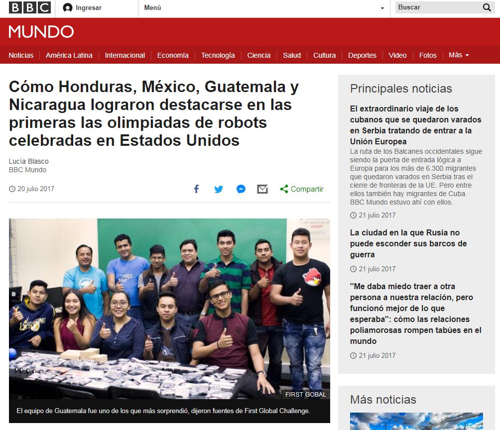 Equipo de Guatemala sorprende en la Primera Olimpiada de Robótica