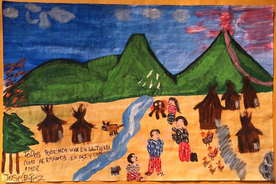 Estudiante guatemalteco fue premiado en concurso de pintura.