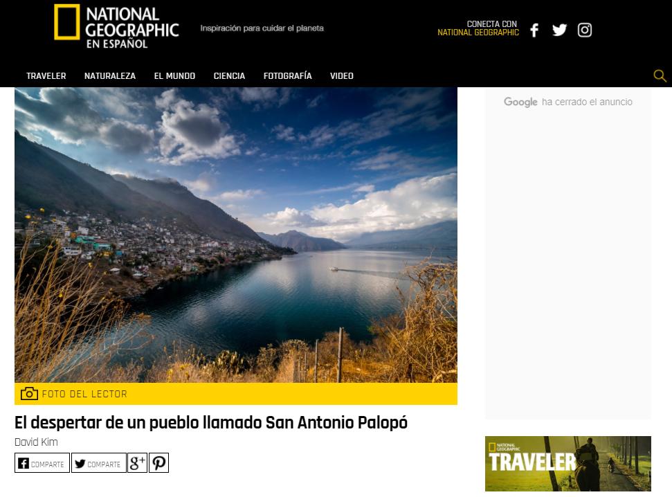 Foto de San Antonio Palopó es publicada en National Geographic