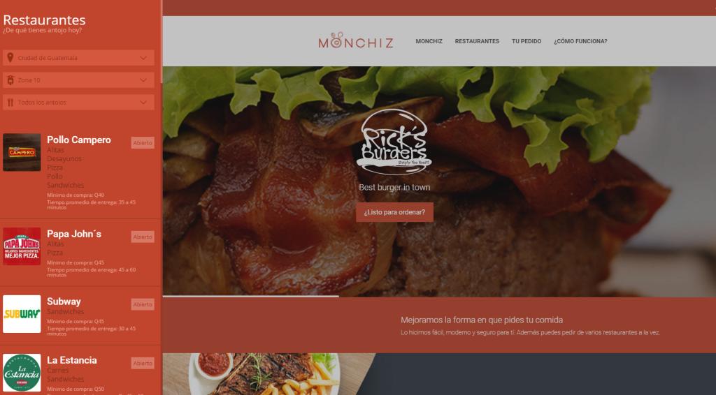 Monchiz, aplicación guatemalteca, para pedir comida a domicilio