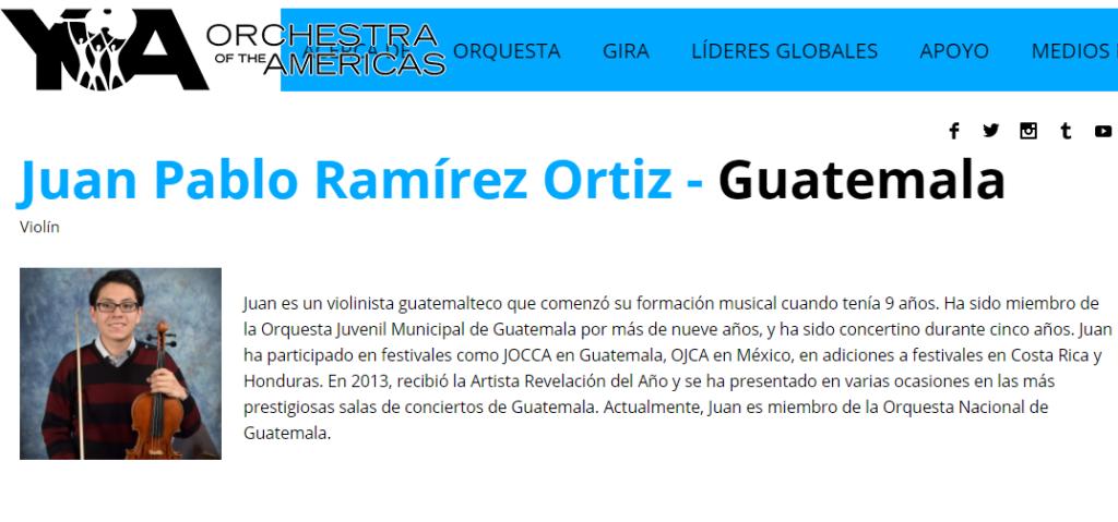 Violinista guatemalteco será parte de la Orquesta de las Américas