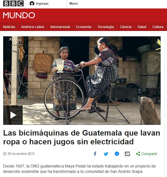Bicimáquinas de la organización Maya Pedal son reconocidas por BBC Mundo