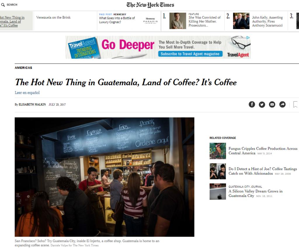 Café guatemalteco destaca en el periódico The New York Times