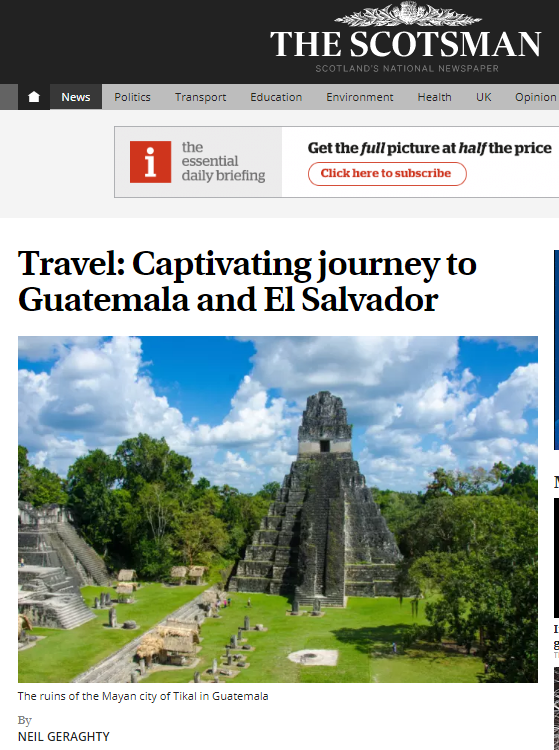 Un viaje cautivador a Tikal y Santiago Atitlán, según The Scotsman