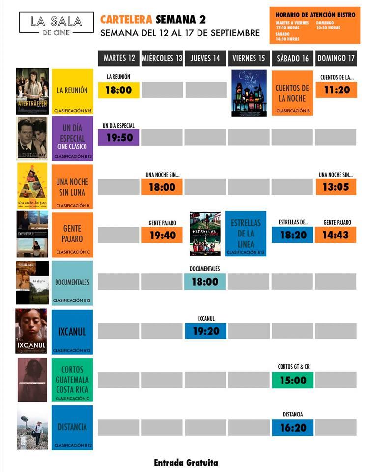Calendario de películas gratuitas en La Sala de Cine, septiembre 2017
