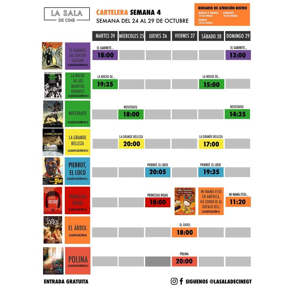 Calendario de películas gratuitas en La Sala de Cine, octubre 2017