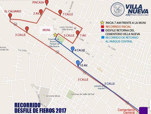 Recorrido del desfileFieros en Villa Nueva