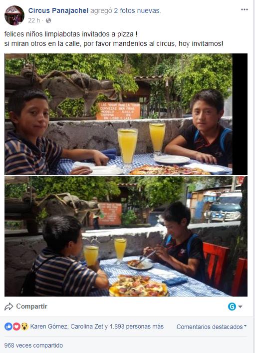 Restaurante de Panajachel regala comida a niños guatemaltecos en Sololá