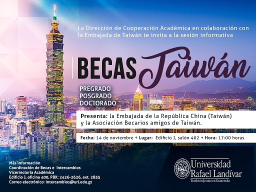 Embajada de Taiwán en Guatemala ofrece oportunidad de becas 2017