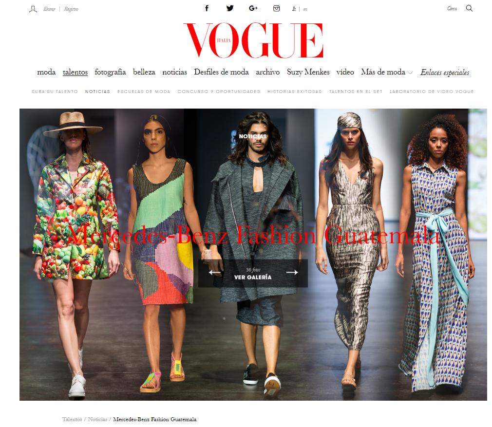 Mercedes-Benz Fashion Guatemala destaca en la revista Vogue de Italia