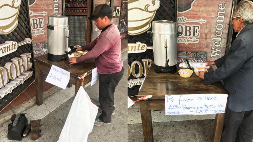 Restaurante en la Ciudad de Guatemala regaló café a las personas necesitadas