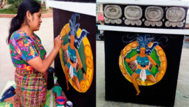 Colectivo de Arte de Comalapa restauró el mural de los nahuales mayas