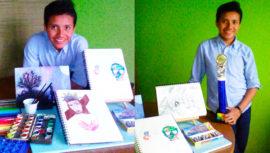 Luis Román, el guatemalteco que ha destacado en concursos de dibujo