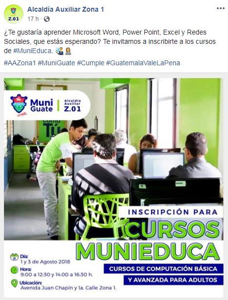Cursos de computación gratuitos para adultos en la Ciudad de Guatemala, agosto 2018