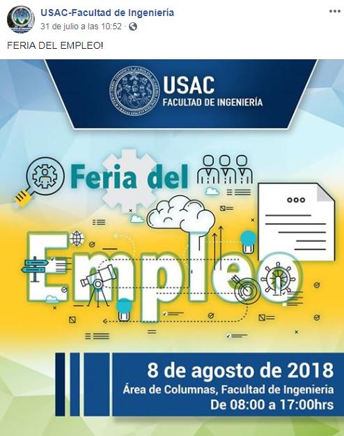 Feria-de-Empleo-en-el-Campus-Central de la Universidad de San Carlos agosto 2018