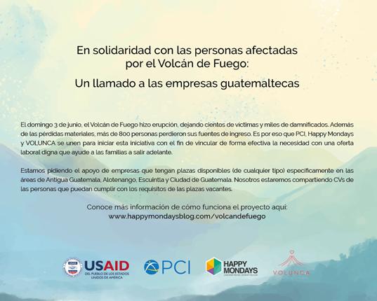 Iniciativa busca darle empleo a afectados por el Volcán de Fuego