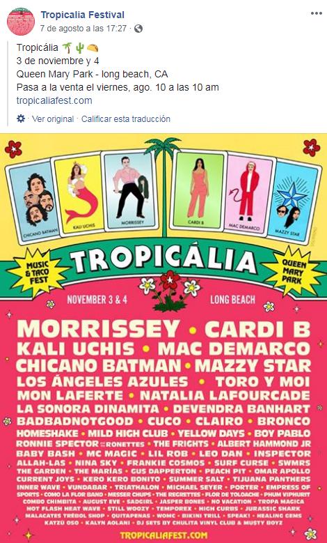 Lineup delTropicalia Festival 2018
